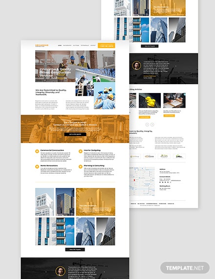 Modern Construction Company Website Format