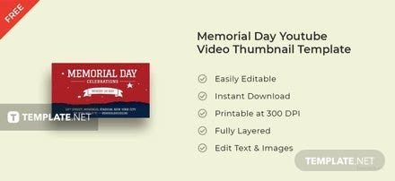 Memorial Day Youtube Video Thumbnail Template