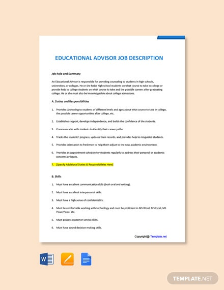 Free Educational Advisor Job Ad and Description Template