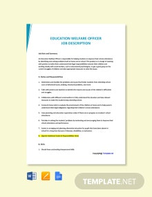 Free Education Welfare Officer Job Ad and Description Template