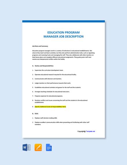 Free Education Program Manager Job Description Template