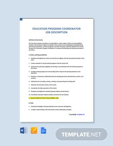 Free Education Program Coordinator Job Description Template