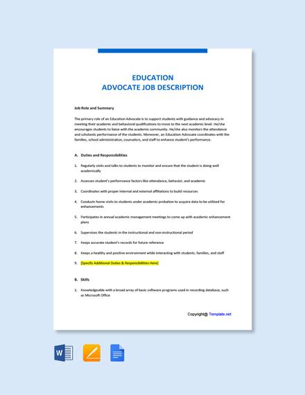 Free Education Advocate Job Description Template