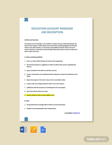 Free Education Account Manager Job Ad and Description Template