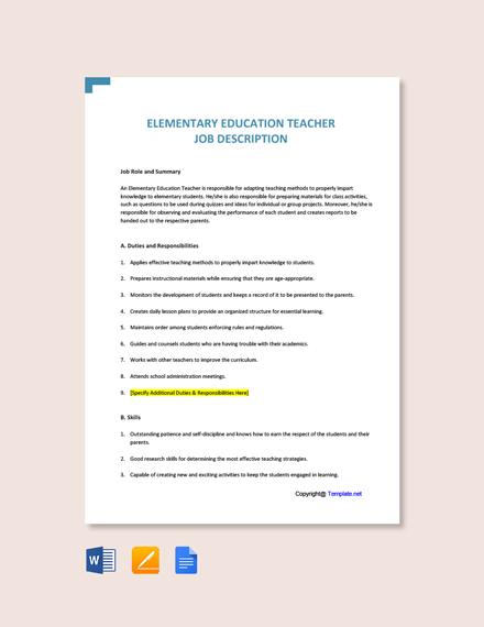 Free Elementary Education Teacher Job Description Template