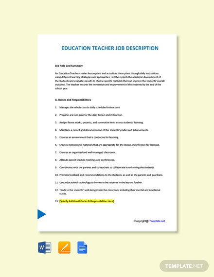 Free Education Teacher Job Description Template