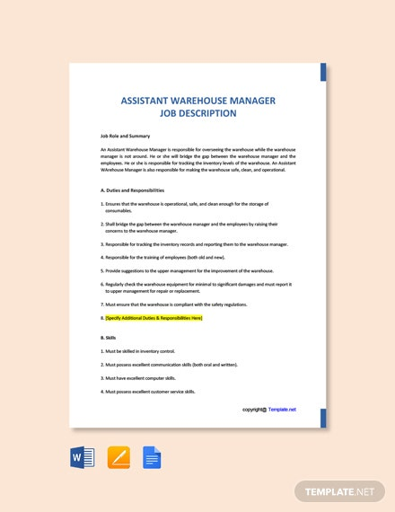 Free Assistant Warehouse Manager Job Ad and Description Template