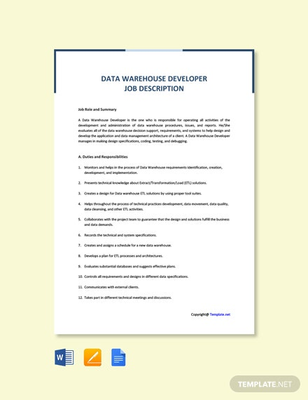 Free Data Warehouse Developer Job Ad and Description Template