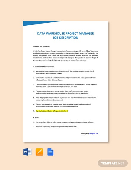 Free Data Warehouse Project Manager Job Ad and Description Template