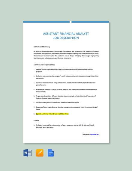 Free Assistant Financial Analyst Job Description Template