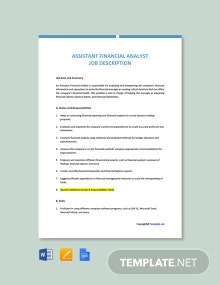 Free Assistant Financial Analyst Job Ad and Description Template