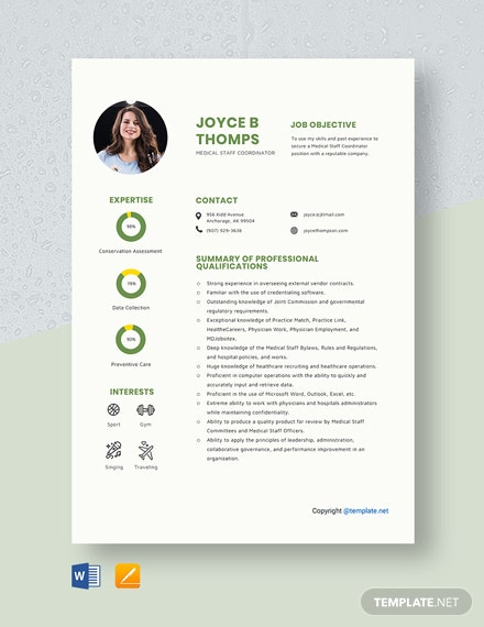 Free Medical Staff Coordinator Resume Template