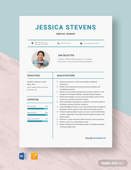 Free Medical Worker Resume Template