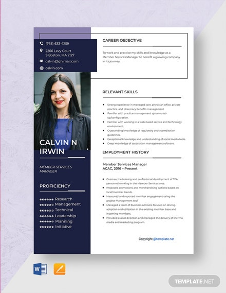 Free Member Services Manager Resume Template