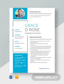 Free Membership Manager Resume Template