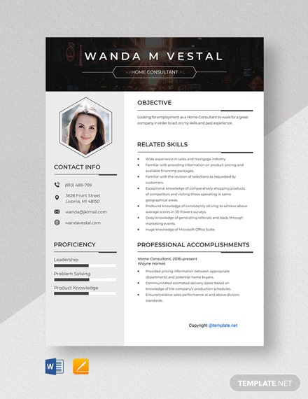 Free Home Consultant Resume Template