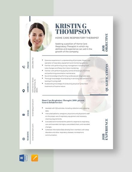 Home Care Respiratory Therapist Resume Template