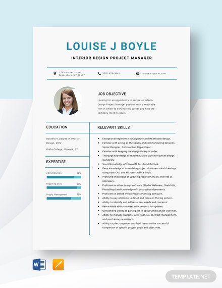 Interior Design Project Manager Resume Template Word Pages Template Net