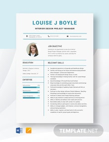 Interior Design Project Manager Resume Template