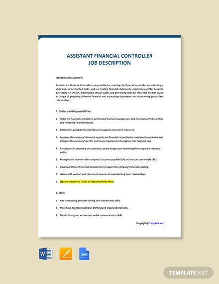 Free Assistant Financial Controller Job Ad and Description Template