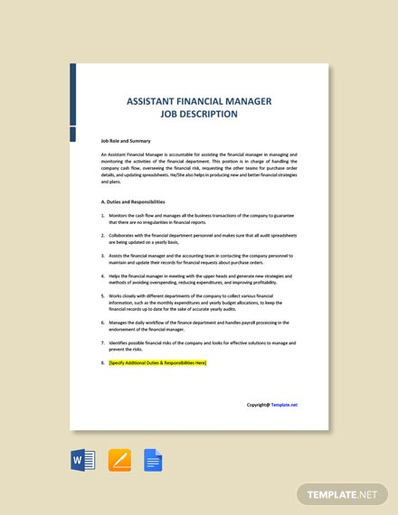 Free Assistant Financial Manager Job Ad and Description Template