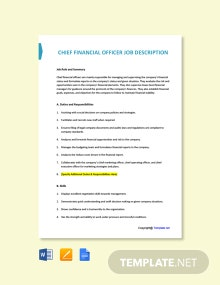 Chief Financial Officer Job Ad and Description Template