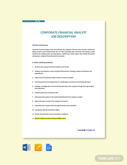 Free Corporate Financial Analyst Job Ad and Description Template