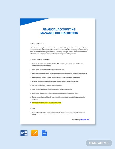 Free Financial Accounting Manager Job Ad and Description Template