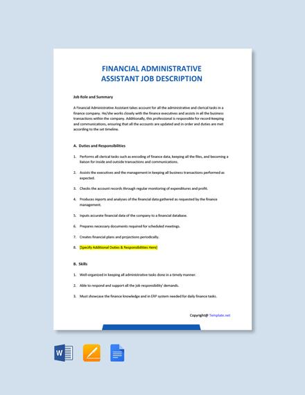 Free Financial Administrative Assistant Job Ad/Description Template
