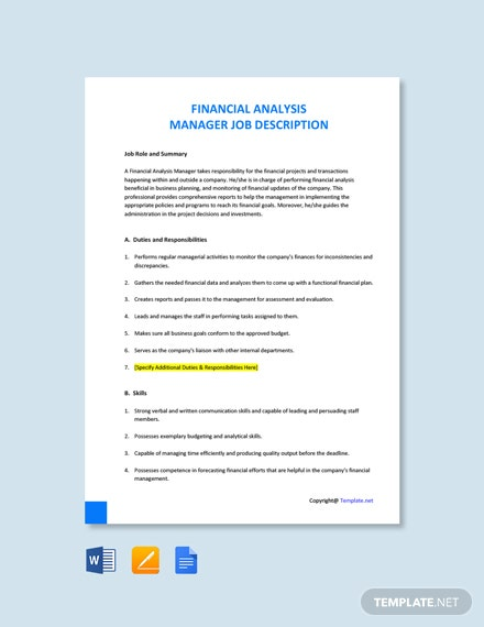 Financial Analysis Manager Job Description Template