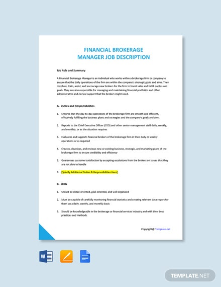 Free Financial Brokerage Manager Job Description Template