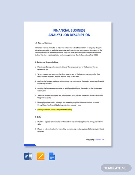 Free Financial Business Analyst Job Ad/Description Template
