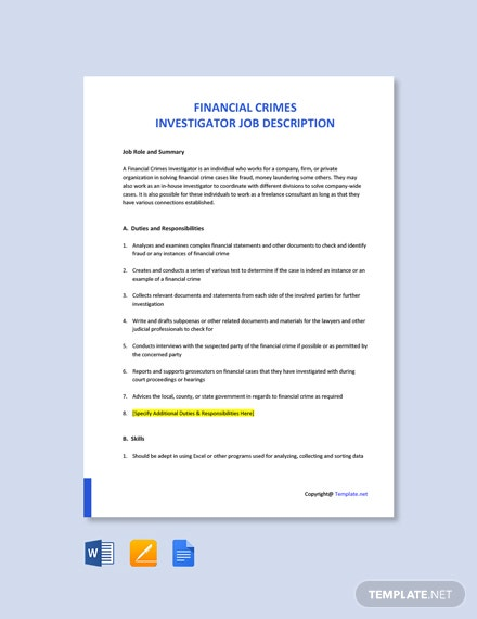 Free Financial Crimes Investigator Job Ad/Description Template