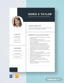 Professional Development Manager Resume Template
