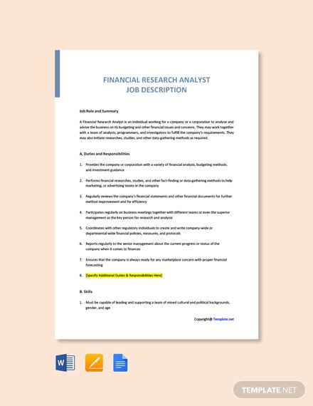 Free Financial Research Analyst Job Ad/Description Template