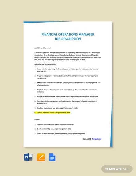Free Financial Operations Manager Job Ad/Description Template