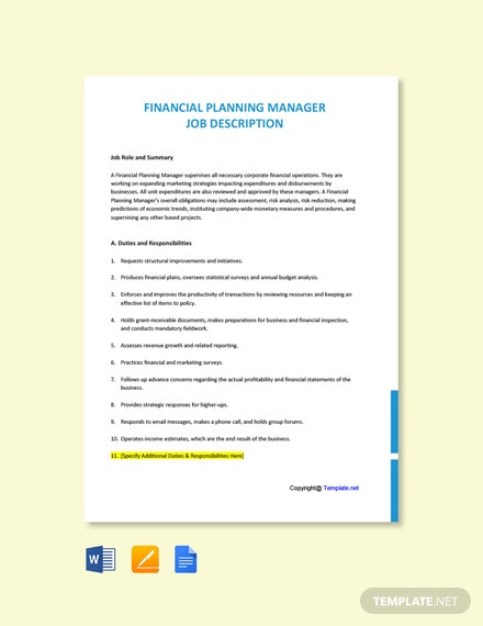 Free Financial Product Manager Job Description Template