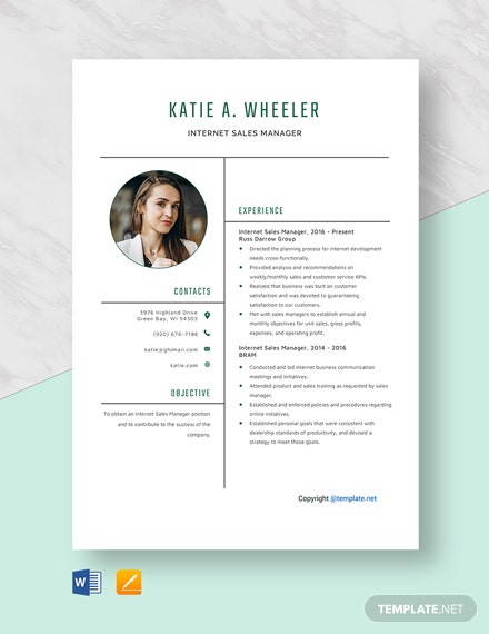 Free Internet Sales Manager Resume Template