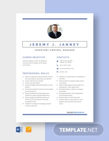 Inventory Control Manager Resume Template