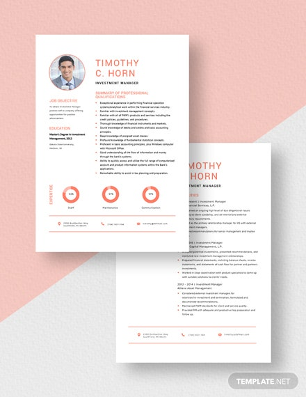 Investment Manager Resume Download