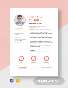 Investment Manager Resume Template