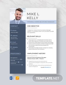 Free Internal Communications Manager Resume Template