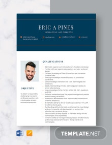 Interactive Art Director Resume Template