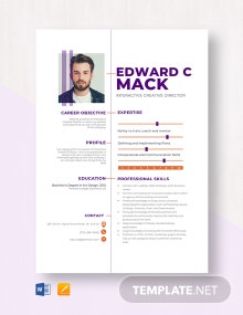 Interactive Creative Director Resume Template