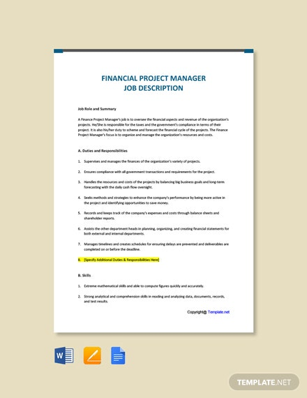 Free Financial Project Manager Job Ad/Description Template