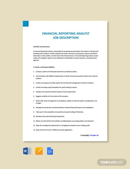 Free Financial Reporting Analyst Job Description Template