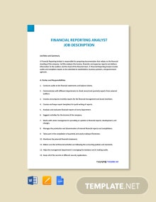 Financial Reporting Analyst Job Description Template