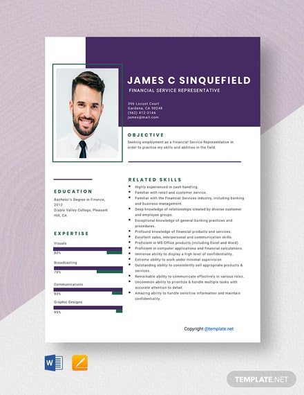 Free Financial Service Representative Resume Template