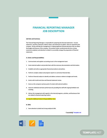 Free Financial Reporting Manager Job Description Template