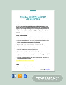 Financial Reporting Manager Job Description Template